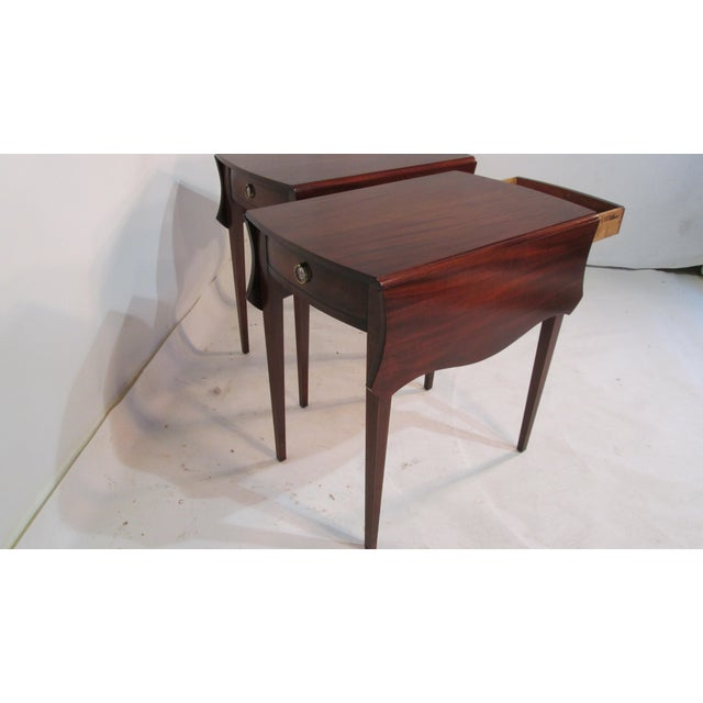 Custom made Pembroke table made by ER Willerson. These table are bench made of solid mahogany also using solid oak...