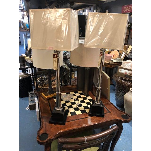 Metal Port 68 Kensington Nickel Buffet Lamp - a Pair For Sale - Image 7 of 8