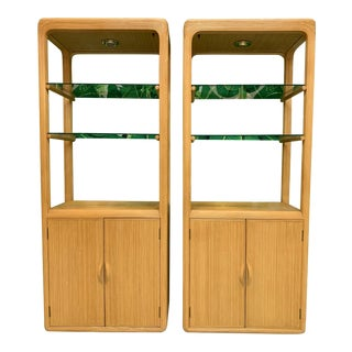 Split Reed Rattan Bookcases in the Manner of Gabriella Crespi For Sale