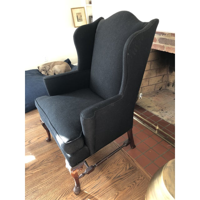 1930s Vintage Reupholstered Wing Chair For Sale - Image 4 of 7