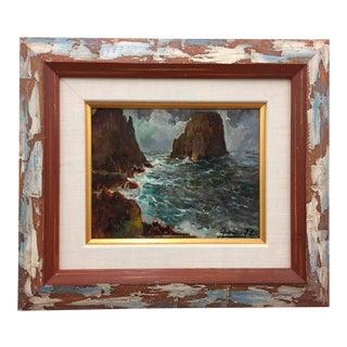 Framed & Signed Seascape Oil Painting For Sale