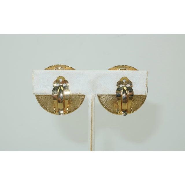 Kenneth Jay Lane Kenneth Jay Lane Art Deco Faux Coral & Rhinestone Earrings For Sale - Image 4 of 9