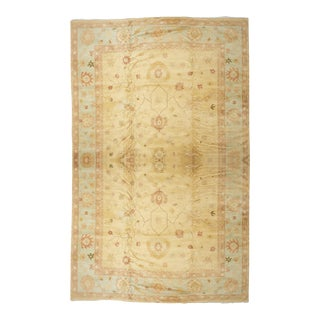 Hand Knotted Traditional Light Gold & Light Blue Wool Rug For Sale