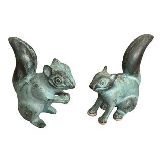 Squirrel Sculptures With Beautiful Verdigris Patina -A Pair For Sale