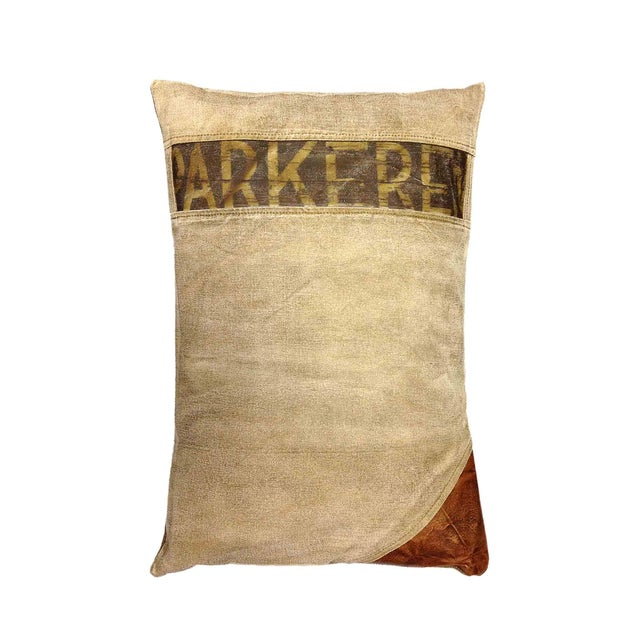 Rectangular Pillow With Leather Appliqué - Image 1 of 3