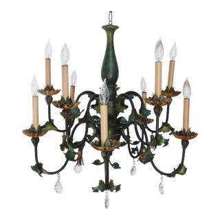 1950s Italian Wood, Tole & Crystal Chandelier with 10-Arms For Sale