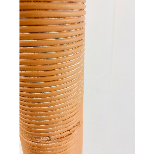 Vintage Wrapped Pencil Reed Rattan Floor Lamp For Sale - Image 9 of 10
