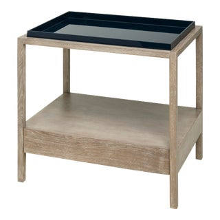 Rita Konig Collection Fitzgerald Nightstand in Midnight Blue / Cerused Oak For Sale
