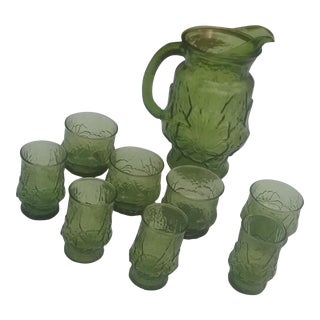 1960s Anchor Hocking Emerald Green Juice Set of 9 For Sale