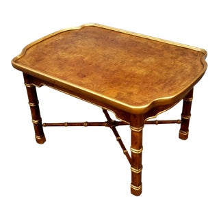 1960s Neoclassical Heritage Burlwood and Faux Bamboo Side Table For Sale