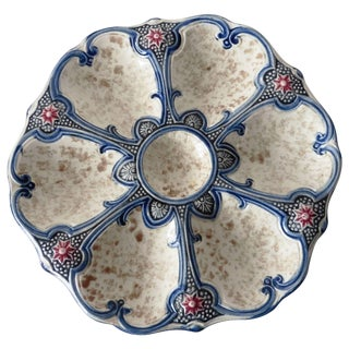 19th Century Majolica Wasmuel Attributed Oyster Plate
