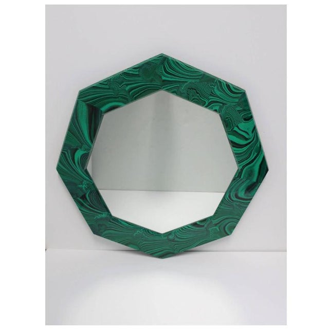 Green Green Malachite Octagonol Wall Mirror For Sale - Image 8 of 13
