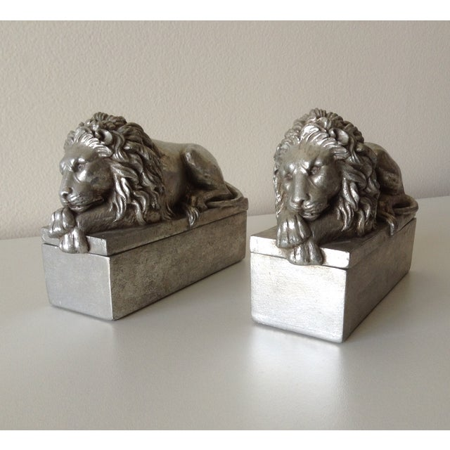Silver Leaf Lion Lidded Boxes - Pair - Image 2 of 8