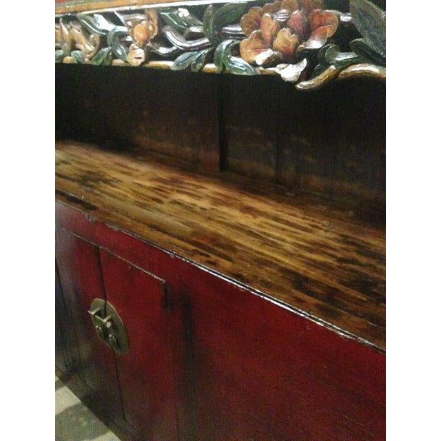 Brown Antique Chinese Carved Shelf Sideboard For Sale - Image 8 of 11