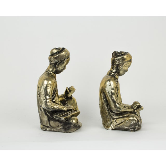 1960s Gold Praying Monks Ceramic Statues - a Pair For Sale - Image 5 of 10