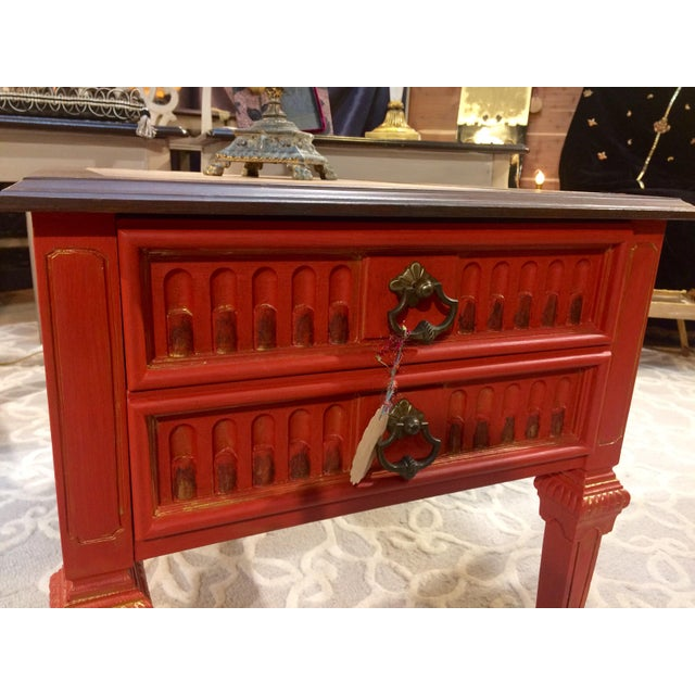 Vintage Coral Accent Table - Image 6 of 9