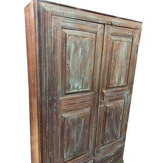 1920s Rustic Distressed Blue Indian Cabinet Teak Wood Indian Armoire Preview