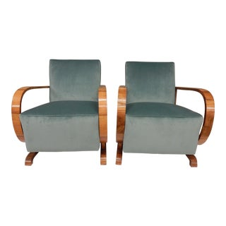 1930's Art Deco Upholstered Walnut Armchairs - a Pair For Sale