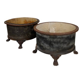 19th Century French Cast Iron Garden Planters W/Claw Feet -A Pair For Sale