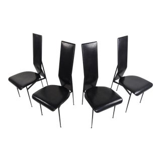 Italian Leather Dining Chairs by Fasem - Set of 4 For Sale