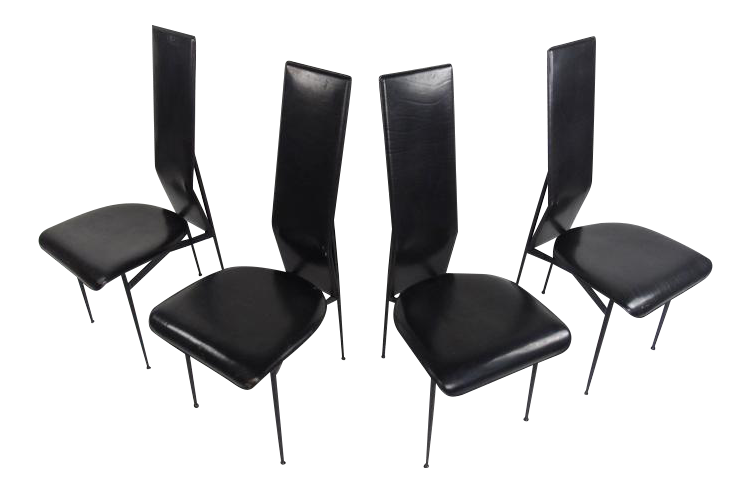 Italian Leather Dining Chairs By Fasem   Set Of 4