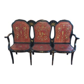 Mid 19th Century Vintage Italian Black Lacquer and Parcel-Gilt Triple-Back Settee For Sale