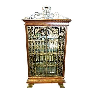 Baroque Iron Cherry Display Curio China Cabinet For Sale