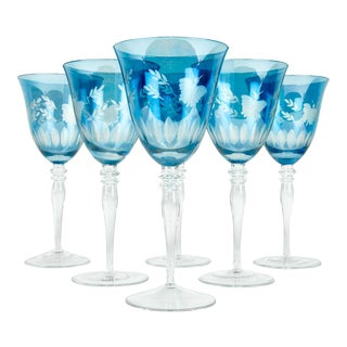 Etched Crystal Wine Glasses - Set of 6