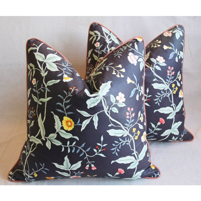 """Designer Clarence House Floral Fabric Feather/Down Pillows 23"""" Square - Pair For Sale - Image 12 of 13"""