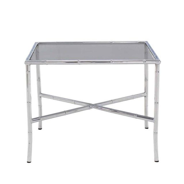 Mid-Century Modern Chrome Faux Bamboo Smoked Glass Top Side or Coffee Table For Sale - Image 3 of 10
