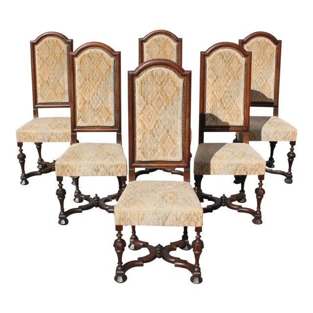 1900s Vintage French Louis XIII Style Dining Chairs - Set of 6 For Sale