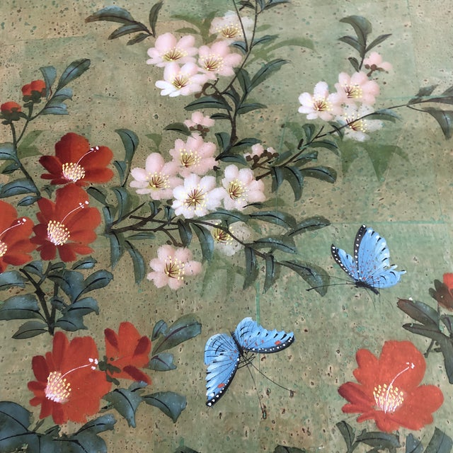 Chinese Vintage Original Chinese Floral Painting With Butterflies Original Frame For Sale - Image 3 of 5