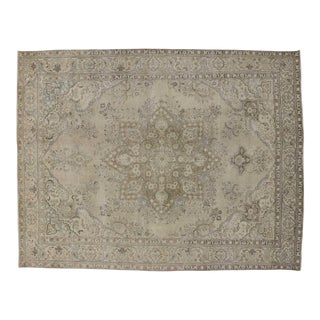Distressed Vintage Persian Tabriz Rug With French Industrial Style - 09'10 X 12'08 For Sale