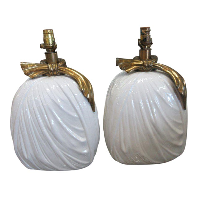 Chapman Brass & Ceramic Lamps - A Pair - Image 1 of 6