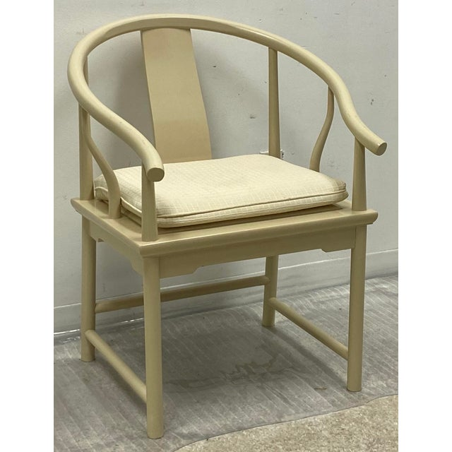 This is a vintage set of dining chairs by Baker Furniture. They have Ming styling and the Baker label. The lacquered...