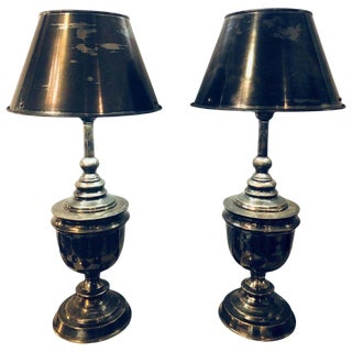 Pair of Industrial Nickel Finish Urn Lamps With Matching Shades For Sale