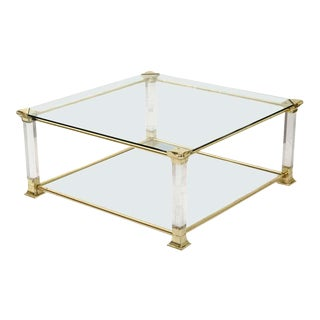 Vintage French Brass and Glass Square Coffee Table For Sale