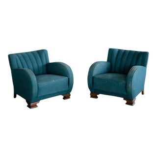 1930s Danish Art Deco Club Chairs - a Pair For Sale