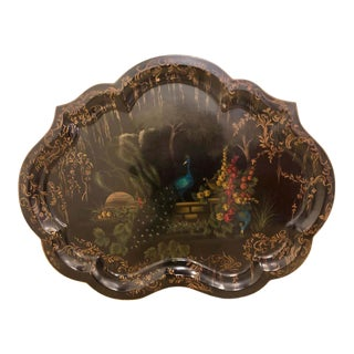 19th Century Handpainted Tole Serving Tray, Platte For Sale