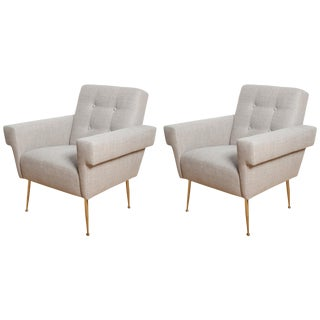 "By Stripe Vintage Modern Our Own Custom ""Milano"" Lounge Chairs - A Pair For Sale"