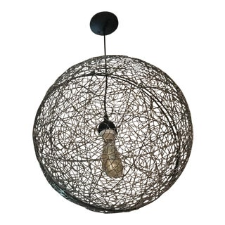One-Of-A-Kind Wire Sphere Pendant Light Fixtures - A Pair For Sale