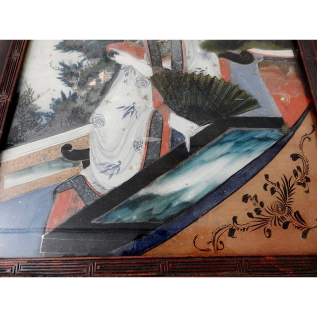 Asian Antique Reverse Glass Painting For Sale - Image 3 of 5