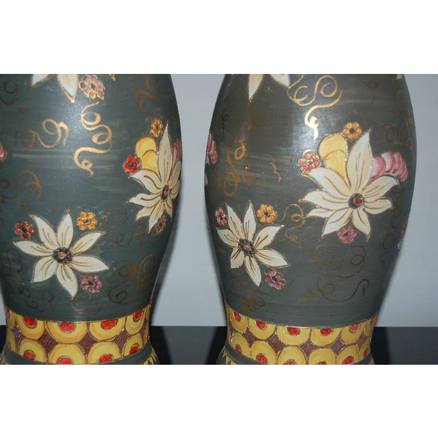 Deruta Vintage Italian Ceramic Deruta Hand Painted Lamps For Sale - Image 4 of 11