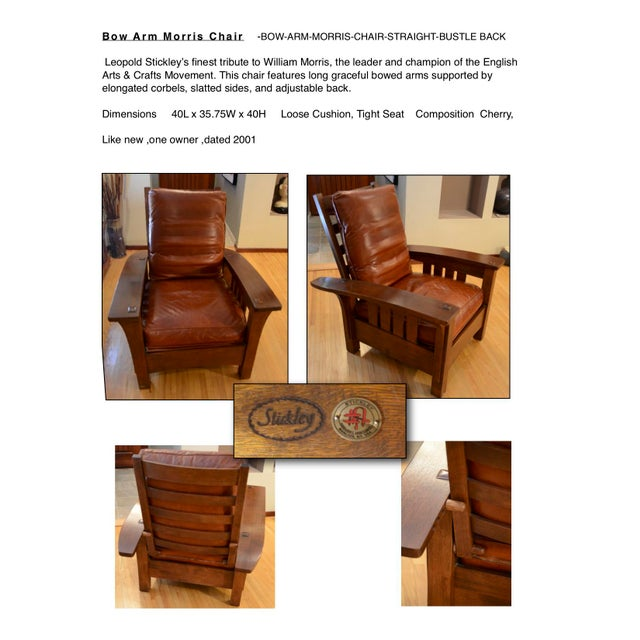 Traditional Stickley Bow Arm Morris Chair For Sale - Image 3 of 4