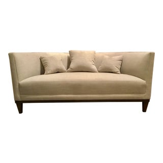 Modern Barbara Barry for Henredon Gray Cotton Conversation Settee For Sale