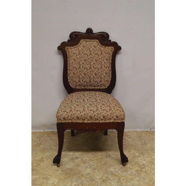 Antique Mahogany 3pc Parlor Set : Settee , Arm Chair , Chair For Sale - Image 10 of 11