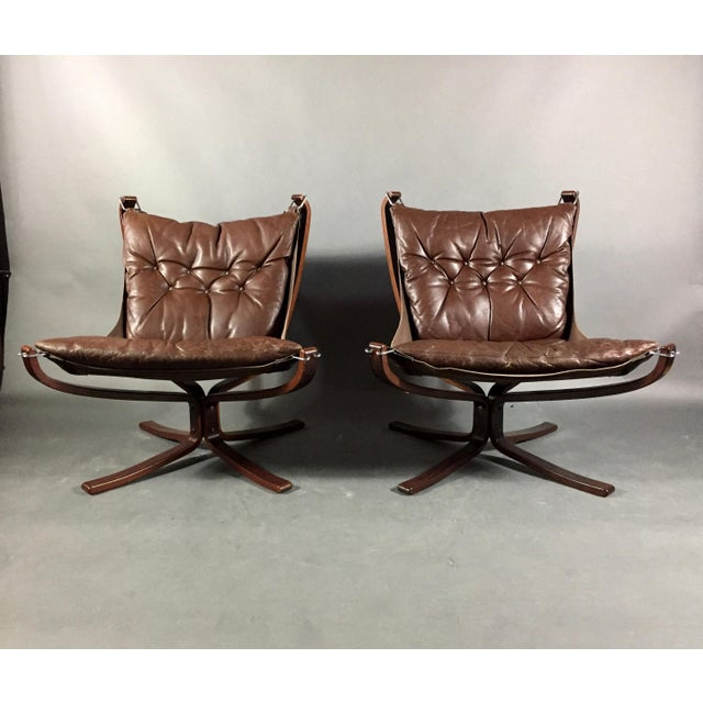 Pair Sigurd Ressell Low-Back Falcon Chairs, Norway 1970s For Sale - Image 11 of 11