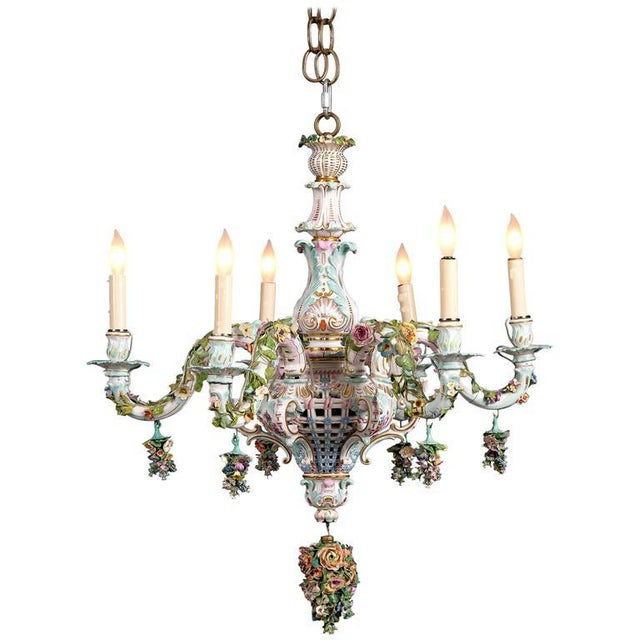 Meissen Porcelain Six-Light Rococo Style Chandelier For Sale - Image 5 of 5
