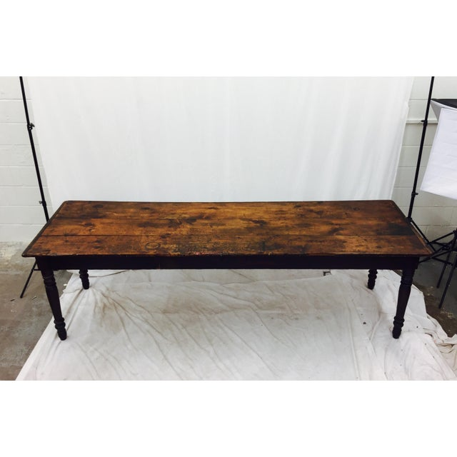 Antique Harvest Farm Table For Sale - Image 4 of 11