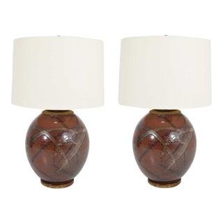 Brent Bennett Ceramic Glaze Table Lamps - a Pair For Sale